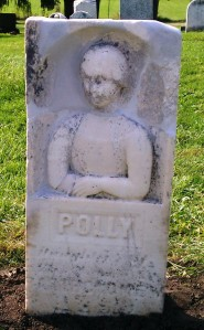 The repaired grave marker of Polly Bartholomew