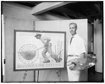Photo of Gerrit A. Beneker with The Mixer poster